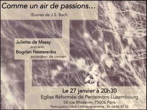 Concert Comme un air de passions.... 27 janvier